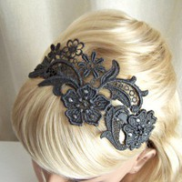 Charcoal grey lace headband with crystals | StitchesFromTheHeart - Accessories on ArtFire