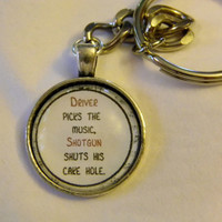 Driver Picks The Music Keychain. Dean Winchester Quote, Supernatural Inspired.