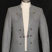 "GRAY - WOOL Men German Hunting Sport Dinner Dress Suit JACKET Over Coat 50 41"" M"