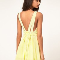 Rare | Rare Chiffon Skater Dress With Bow Back at ASOS