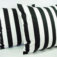 Two Black and White 18 x 18 Inch Striped Decorative Throw Pillow Covers - Cushion Cover Accent Pillow