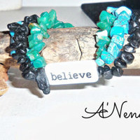 "Men's Bracelet   "" Always Believe""  Reversible Genuine Rare Amazonite, Black Jasper and ,Turqouise"