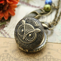 Necklace-owl pocket watch necklace with antique bronze flower charm and glass pearl charm