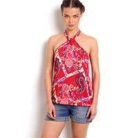 Printed Halter-Neck Top with Elasticated Hemline