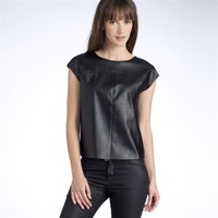 Dual Fabric T-Shirt with Zip Fastening at Back