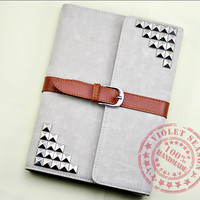 3 Color Choice, Leather iPad mini Case, iPad mini Cover, iPad case with sliver studs, Ipad Mini Book, Ipad mini Sleeve