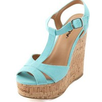 Canvas T-Strap Cork Wedge Sandal: Charlotte Russe