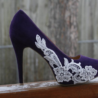 Purple Heel With Lace Applique by walkinonair on Etsy