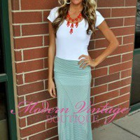 Warming up Striped maxi Skirt PALE BLUE