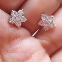 Cherry Blossom White Crystal Studs Earrings. Bridal Studs from Letsglamup