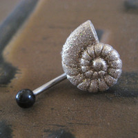 Golden Glitter Spiral Seashell Belly Button Ring- Navel Jewelry Piercing Stud Shell Bar Barbell