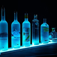 2' Wall Mounted LED Lighted Liquor Bottle Shelf, Wall Mounted Wine Shelves