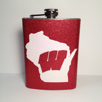 ON WISCONSIN glitter flask