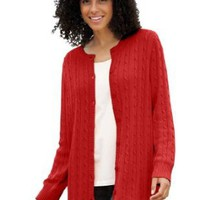 Amazon.com: Plus Size Cabled Cardigan Sweater: Clothing