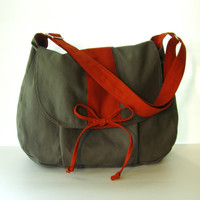 Sale  Grey Canvas Messenger bag School Bag Diaper Bag by tippythai