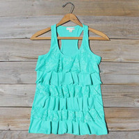 Spool Basics Ruffle Tank in Mint, Sweet Bohemian Lace Tops