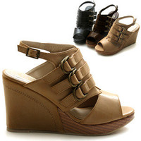 ollio Womens Shoes Platform Wedge Strap Sandals Multi Colored