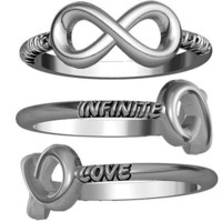 Infinite Love Carved Flowing Infinity Ring, 14mmx7mm in Sterling Silver