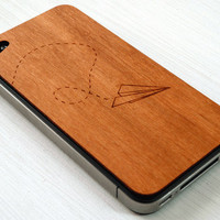 Paper Airplane Etching on Real Wood iPhone by grandmaswoodentooth
