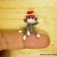 Miniature Sock Monkey With Hat  Micro Thread Crochet by suami