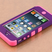 Stylus + For iPhone 5 5G Hybrid High Impact Hard Case Silicone Cover (6 Colors)