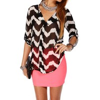 BlackWhite Chevron Blouse