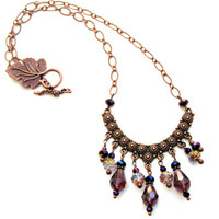 Statement Necklace, Copper, Amethyst, Purple, Romantic, Gypsy Style