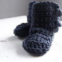 mama's booties a crocheted pair of baby booties in by bungaloe