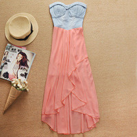 DENIM splicing chiffon irregular dress