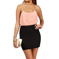 PeachBlack Lace Colorblock Dress