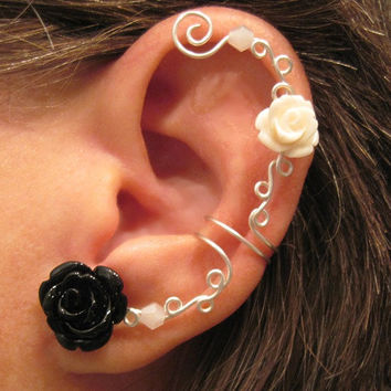"""No Piercing Cartilage Ear Cuff  """"Roses are Harlequin"""" Conch Cuff Silver tone Prom Bridesmaids"""