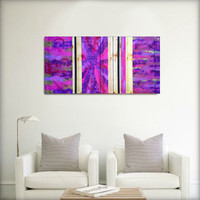 Colorful original abstract painting on wood. Purple, pink, magenta, violet, lilac, and gold. Large painting.