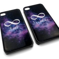 Amazon.com: Friendship Best Friends Infinity Space Snap-On w/ Hard Cover Carrying Case Set for iPhone 4/4S - Set of 2 Cases (Black): Cell Phones & Accessories