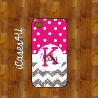 PINK polka dot chevron case - SPARKLE - Personalized iPhone case - iPhone 4s case - iPhone 5 case - plastic or rubber - Monogram iPhone case