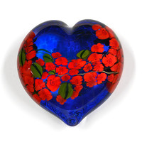 Red Roses Garden Heart on Blue by Shawn Messenger: Art Glass Paperweight - Artful Home