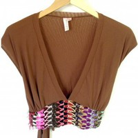 Sweet Pea Stacy Frati Boho Hippie Festival Crop Top Shirt Women's Size Medium (M) was $108 now $25