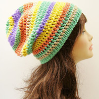 FREE SHIPPING - Slouchy Crochet Hat - Rainbow Multi, Mint Light Green, Gold Yellow, Lavender Purple, Peach Orange, Tan