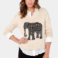 Mink Pink Pride of Place Beige Elephant Knit Sweater