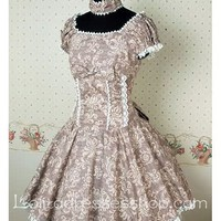 Grey Cotton Short Sleeve classic Lolita dress With Full floral print And lace-up Back Style
