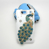 Handmade Hard Case for Verizon Motorola Droid Razr Maxx: Bling Peacock (custom are welcome)