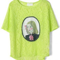 Pearl Painting Lace T-shirt