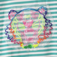 Neon Tiger Embroidery Stripe T-shirt