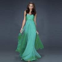 [grhmf26000107]Strapless Green Chiffon Prom Dress