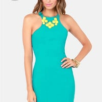 LULUS Exclusive Breaking Curve-few Teal Dress