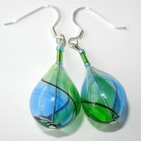 Bright Green, Blue and Black Swirl Dangle  Earrings