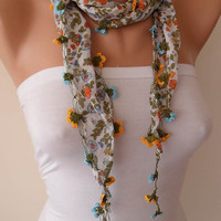 Crochet - Needlework Green and Yellow Summer Scarf