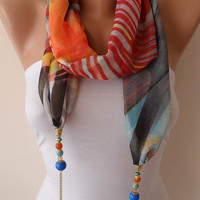 Necklace Scarf - Multicolor Jewelry Scarf - Chiffon Fabric with Beads and Chain