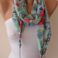 Pink and Blue - Jewelry Scarf - Chiffon Fabric with Beads and Chain