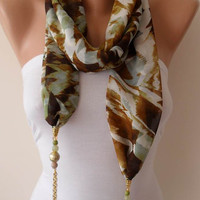 Green and Light Brown - Jewelry Scarf - Chiffon Fabric with Beads and Chain