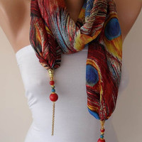 Peacock Pattern - Red Yellow and Blue - Jewelry Scarf - Chiffon Fabric with Beads and Chain